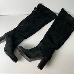 Prialpas black leather suede knee heeled boots 37